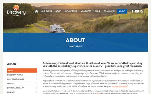Screenshot of About Page discoveryholidayparks.com.au - Cabin & Caravan Accommodation  About Us   Discovery Parks - captured April 11, 2017