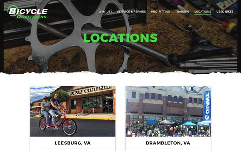 Screenshot of Locations Page bikeoutfitters.com - Locations – Bicycle Outfitters - captured Oct. 10, 2017