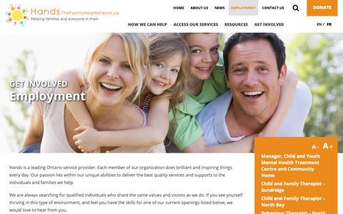 Screenshot of Jobs Page thefamilyhelpnetwork.ca - Employment   Hands - captured Dec. 14, 2018
