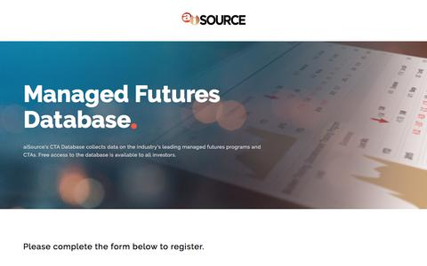 Screenshot of Signup Page managedfuturesinvesting.com - Managed Futures Database Signup | aiSource - captured Jan. 26, 2018
