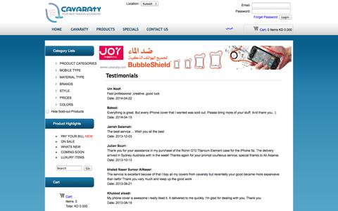 Screenshot of Testimonials Page cavaraty.com - Cavaraty.com - Testimonials - captured Sept. 19, 2014