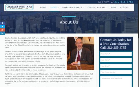 Screenshot of About Page cjalaw.com - Top Bankruptcy Law Firm in NYC: Charles Juntikka & AssociatesCharles Juntikka & Associates - captured June 19, 2018