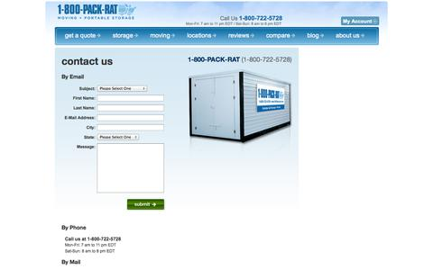 Screenshot of Contact Page 1800packrat.com - Contact Us for Portable Storage and Moving  - 1-800-PACK-RAT - captured Sept. 19, 2014