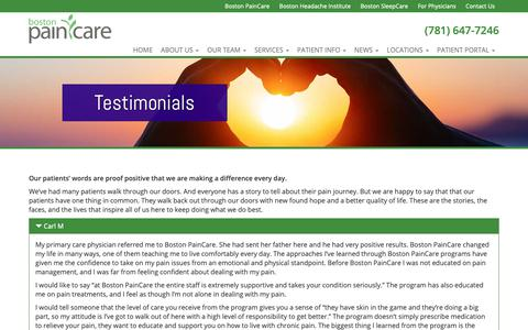 Screenshot of Testimonials Page bostonpaincare.com - Testimonials - Boston PainCare - captured Nov. 13, 2018