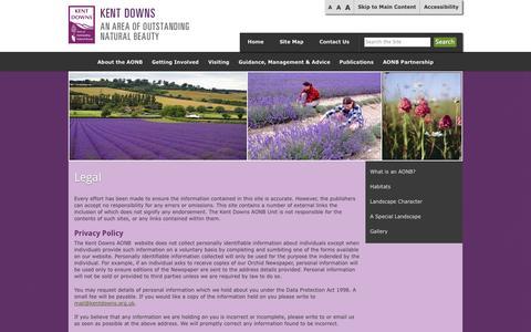 Screenshot of Terms Page kentdowns.org.uk - Legal - www.kentdowns.org.uk - captured Oct. 6, 2014