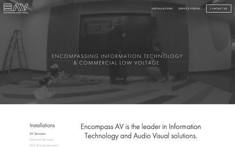 Screenshot of Home Page encompassav.com - Encompass Audio Visual Design Installation and integration - captured Sept. 28, 2018
