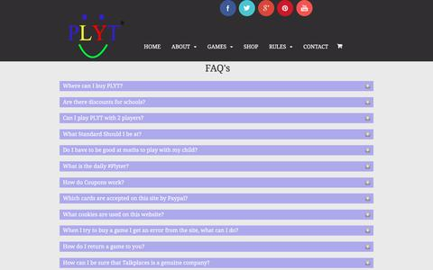 Screenshot of FAQ Page plyt.co.uk - Frequently asked Questions about PLYT | PLYT - captured July 10, 2016