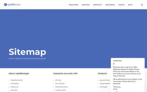 Screenshot of Site Map Page rapidbizapps.com - rapidBizApps says… - captured Sept. 21, 2018