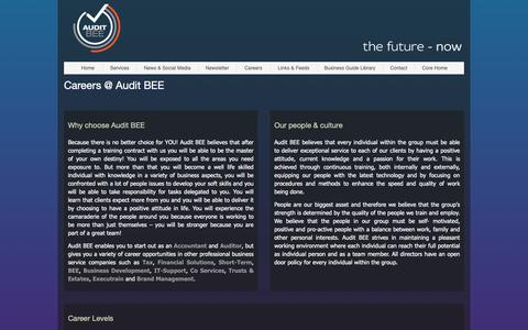 Screenshot of Jobs Page thecoregroup.co.za - Audit BEE - the future - now - captured Dec. 18, 2018