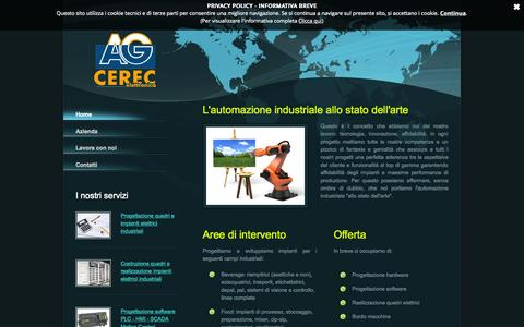 Screenshot of Home Page ag-cerec.it - AG-CEREC ELETTRONICA srl - Automazione Industriale - Parma (Italy) - captured Oct. 14, 2015