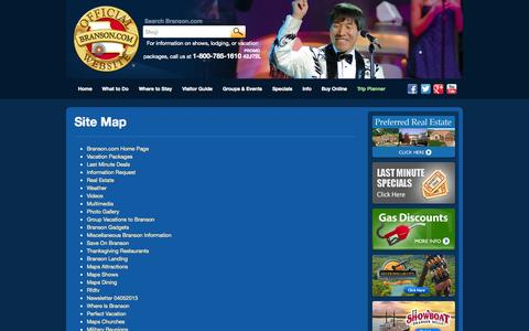 Screenshot of Site Map Page branson.com - Site Map - Branson.com : The Official Branson Website - captured Sept. 19, 2014