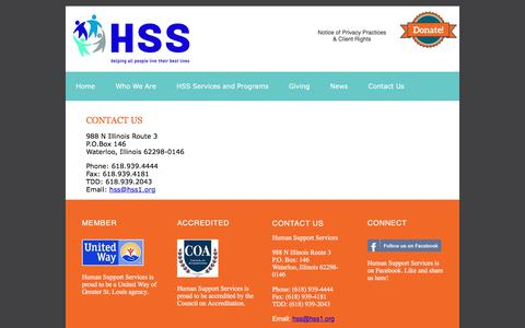 Screenshot of Contact Page hss1.org - Contact Us | Human Support Services - captured July 3, 2018