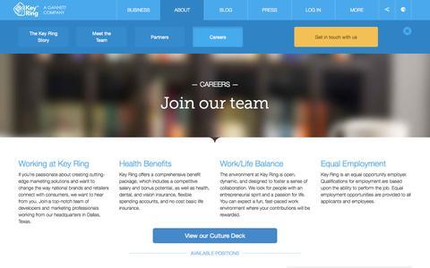 Screenshot of Jobs Page keyringapp.com - Careers | Key Ring - captured Sept. 16, 2014