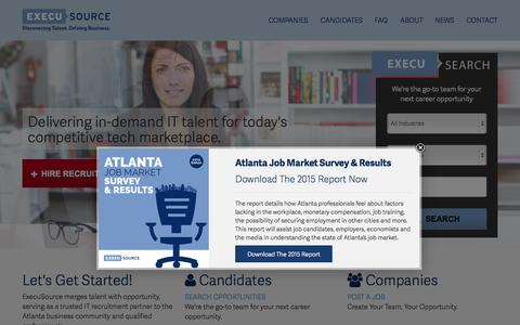 Screenshot of Home Page execusource.com - Atlanta's Trusted Finance, Accounting & IT Recruitment Partner - captured Nov. 3, 2015