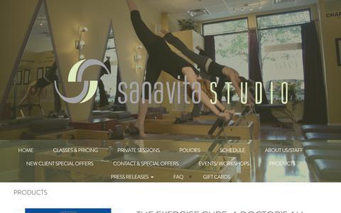 Screenshot of Products Page sanavitastudio.com - Products - Sana Vita Studio - Chicago, Illinois - captured July 27, 2018