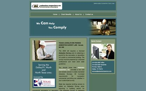 Screenshot of Home Page asbestosinspectors.com - Dallas Asbestos Inspectors - Asbestos Inspection - Asbestos Inspectors Inc - captured Feb. 6, 2016