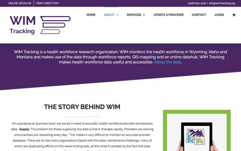 Screenshot of About Page Privacy Page wimtracking.org - About WIM - Montana Health Workforce Services - captured July 8, 2018