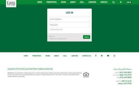 Screenshot of Login Page cartergroupland.com - Log In - captured Sept. 27, 2018