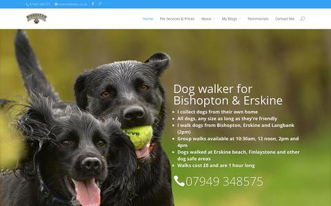 Screenshot of Home Page bdws.co.uk - Bishopton Dog Walking Services | Bishopton & Erskine dog walkers, Renfrewshire - captured Oct. 5, 2014