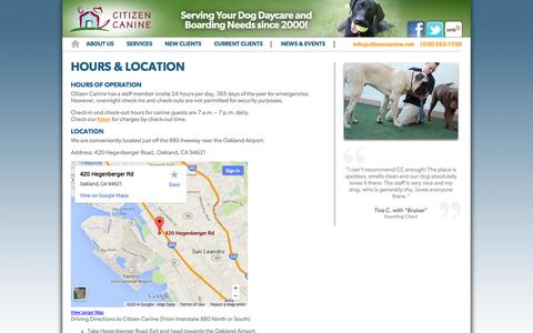 Screenshot of Hours Page citizencanine.net - Hours and Location | Citizen Canine - captured Sept. 29, 2014