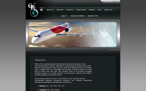 Screenshot of Products Page globalpartssupport.com - Global Parts Support Inc. - captured Oct. 2, 2014