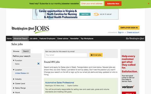 Screenshot of Jobs Page washingtonpost.com - Sales jobs - captured Oct. 30, 2016