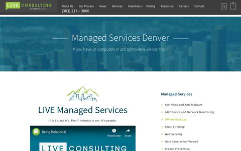 Screenshot of Services Page liveconsulting.com - Managed Services Denver - captured July 23, 2019