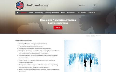 Screenshot of Services Page amcham.no - Services - AmCham - captured Oct. 4, 2014