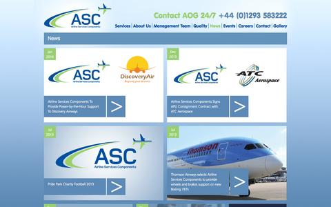 Screenshot of Press Page ascltd.com - News, Airline Services Components - captured Oct. 4, 2014