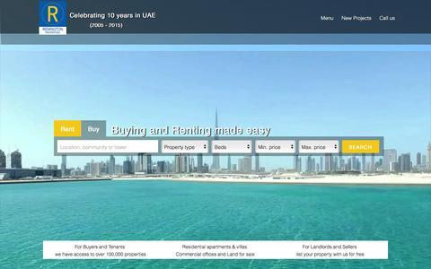 Screenshot of Home Page remington.ae - Remington Properties - Dubai Real Estate Adviser - captured Feb. 14, 2016