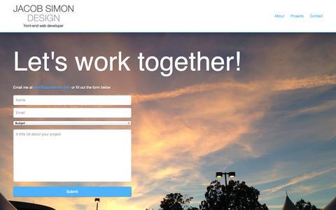 Screenshot of Contact Page jacobsimon.com - Jacob Simon Design - Front end Web Developer - captured Oct. 6, 2014