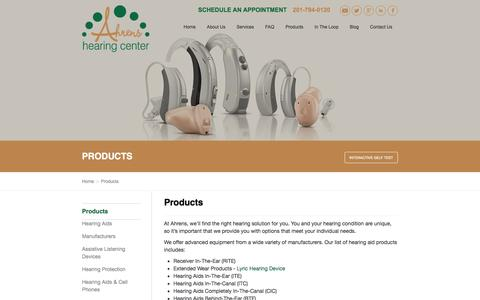 Screenshot of Products Page ahrenshearing.com - Products - Ahrens Hearing Aid Center - captured Feb. 5, 2016