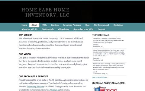 Screenshot of About Page homesafehomeinventory.com - About Home Safe Home Inventory - Home Safe Home Inventory, LLC - captured Oct. 2, 2014