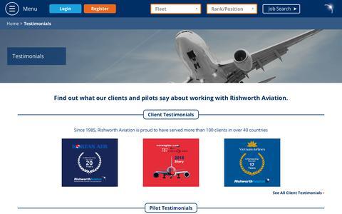 Screenshot of Testimonials Page rishworthaviation.com - Testimonials - Rishworth Aviation - captured Sept. 22, 2018