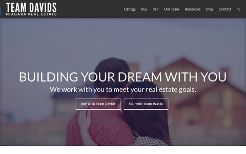Screenshot of Home Page teamdavids.ca - Team Davids | Niagara's Realtors, Your Partners - captured Feb. 25, 2016