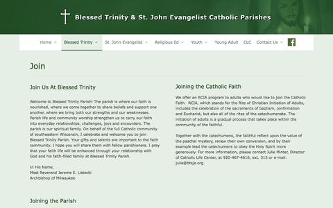 Screenshot of Signup Page btsje.org - Join | Blessed Trinity & St. John Evangelist Catholic Parishes - captured July 1, 2018