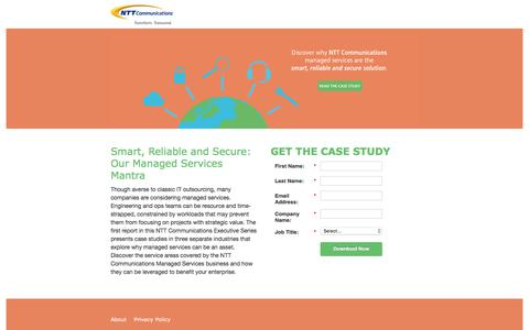 Screenshot of Landing Page ntt.com - NTT Communications - Managed Services: More than Outsourcing - captured April 21, 2018