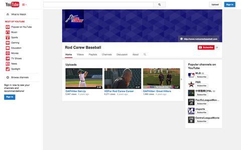 Screenshot of YouTube Page youtube.com - Rod Carew Baseball  - YouTube - captured Oct. 29, 2014