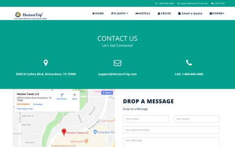Screenshot of Contact Page horizontrip.com - Contact Us   HorizonTrip.com - captured Sept. 24, 2018