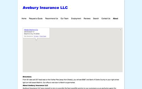 Screenshot of About Page aveburyinsurance.com - Avebury Insurance LLC :: About - captured Oct. 4, 2014
