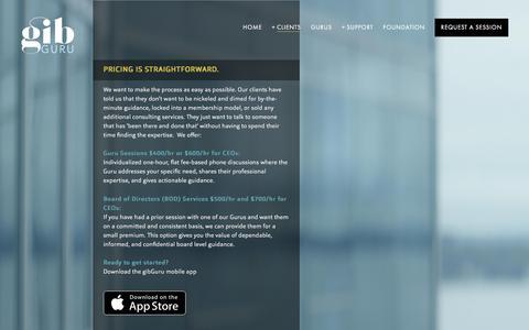 Screenshot of Pricing Page gibguru.com - PRICING — Gib GURU - captured July 8, 2018
