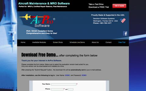 Screenshot of Trial Page avprosoftware.com - AvPro Software | Download Free Demo | Aircraft Maintenance Software - captured July 8, 2018