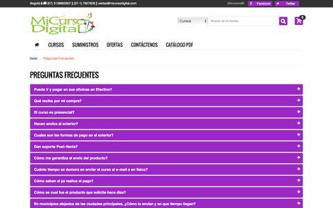 Screenshot of FAQ Page micursodigital.com - PREGUNTAS FRECUENTES FAQS EN EL SITIO MICURSODIGITAL INTERNACIONAL - captured Jan. 18, 2016