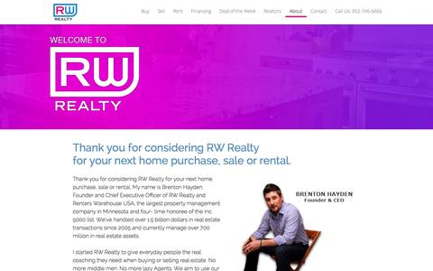 Screenshot of About Page rwhq.com - About RW Realty - RW Realty - captured Oct. 2, 2014