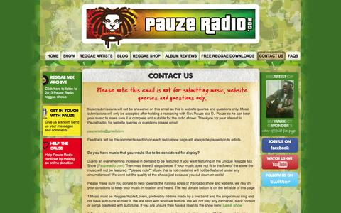 Screenshot of Contact Page pauzeradio.com - Reggae Radio Station - Contact Us - captured Oct. 2, 2014