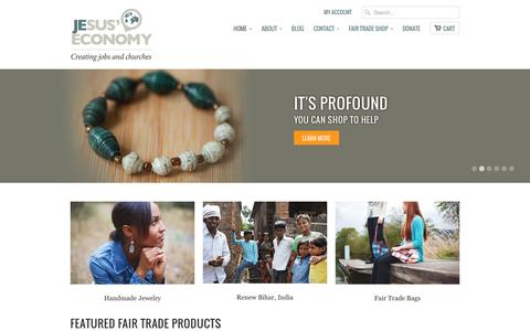 Screenshot of Home Page jesuseconomy.org - Shop Fair Trade Gifts to Create Jobs and Churches   Jesus' Economy - captured Sept. 30, 2014