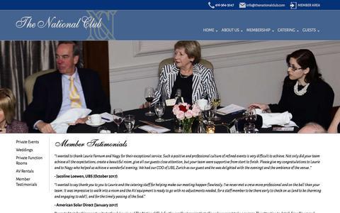Screenshot of Testimonials Page thenationalclub.com - Member Testimonials - Membership - Private Club   Toronto - The National Club - captured Nov. 16, 2017