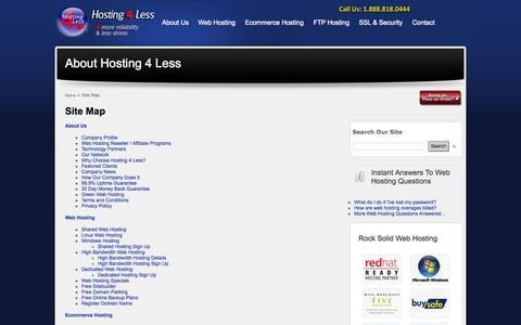Screenshot of Site Map Page hosting4less.com - Hosting 4 Less - Site Map - captured Sept. 30, 2014