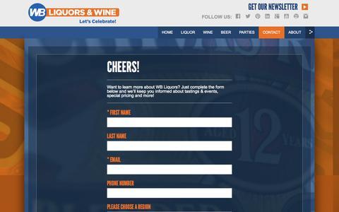 Screenshot of Signup Page wbliquors.com - WB Liquors - captured Oct. 1, 2014