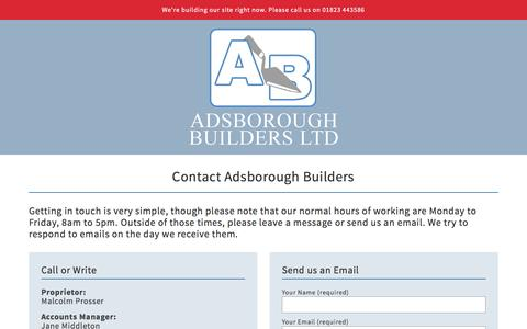 Screenshot of Contact Page adsboroughbuilders.co.uk - Contact Adsborough Builders – Adsborough Builders - captured July 24, 2016